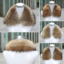 Men/Women 100%  Real Fur Down jacket Collar Natural Brown Scarf 4 Sizes