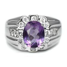 10x8mm Natural Purple Amethyst Ring With White Zircon in 925 Silver