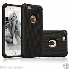 "Heavy Duty Tough Armor Dual Layer Black Case Cover For iPhone 6/6s PLUS (5.5"")"