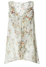 New Monsoon size 8 - 18 Butterfly Print Frill Sheer Chiffon loose fit Top Tunic