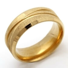 fashion jewelry Gold Scrub Stainless Steel Wedding Rings 7-11 Free Shipping
