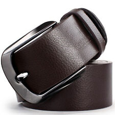New Vintage Mens Leather Belt Classic Pin Waistband Metal Buckle Jeans Belts