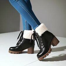 Stylish Winter Fur Top Chunky Block Heel Womens Lace Up Combat Punk Ankle Boots