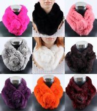Women Real Rabbit Fur Scarf Shawl Cape Stole Scarves Winter Scarf Collar New
