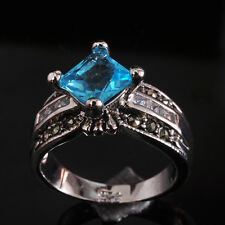 Hot Beautiful Party Jewelry Blue Topaz S80 Silver Gemstone Ring size 6~9