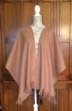 "Fleece Fringed Shawl Wrap Ruana Camel Solid Topstitched 50""x60"" Onesize 4 Colors"
