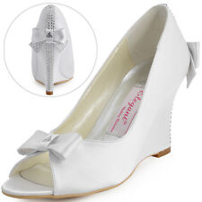 EP41020 Satin Peep Toe Rhinestones Bow High Heel Wedges Wedding Bridal Shoes