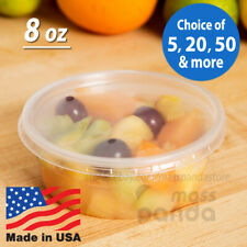 8oz Round Deli Food/Soup Storage Containers w/ Lids Microwavable Clear Plastic