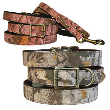 Brand New Auburn Leathercrafters Durable Leather Camouflage Dog Pet Collar Gray