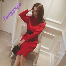 Stylish Womens Casual Comfort Knitted Dress Long Sleeves Slim Fit Long Skirts