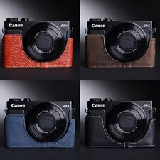 Genuine real Leather Half Camera Case Camera bag cover for CANON G9X 4 Color