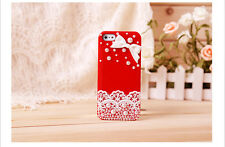 Bling Rhinestones Pearls Lovely Lace Hard Case Cover For iPhone 6/4s/5s Red