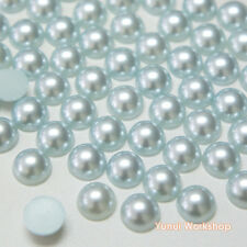 Light Blue (1.5mm - 12mm) Flatback Half Pearl Round Scrapbooking Nail Art Craft