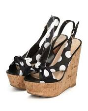 New Women Wild Diva Chic126 Satin Polka Dot Peep Toe Slingback Cork Wedge Sandal