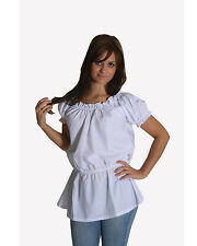Medieval Renaissance White Short Sleeves Costume Cotton Chemise