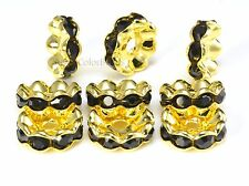 rhinestone copper spacer bead, yellow gold plated, black rhinestone, 6-12mm
