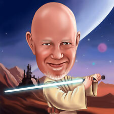 Personalised Color Caricature from photo digital realistic Star Wars caricature