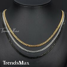3MM 3 COLOR OPTIONS Curb Link Stainless Steel Necklace Boy Mens Chain 18-36inch