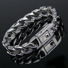 11mm Mens Chain Gold Silver Tone 316L Stainless Steel Carved Curb Link Bracelet