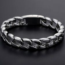 Mens Chain Boys Curb Link Silver Tone 316L Stainless Steel Bracelet Fashion GIFT