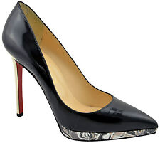 CHRISTIAN LOUBOUTIN Black PIGALLE PLATO Leather Pumps High Heels LIMITED EDITION