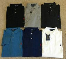 NWT POLO Ralph Lauren Mens Custom Fit Long Sleeve polo Shirts 100% cotton
