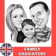 Personalised family caricature portrait from photo as gift for your family