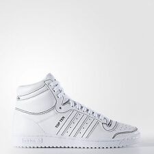 ADIDAS ORIGINALS TOP TEN HI F37588 FOOTWEAR WHITE/BLACK STITCHING - LEATHER