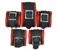 New Genuine Leather 5 X Restraints Set Bondage padded,Fesselset,Wrist+Ankle+Neck