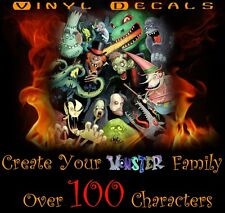 Create Monster's Family Vinyl Decal Sticker Car Window Zombies Skeletons Dracula