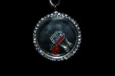 FLOATING LOCKET NECKLACE FOR TEACHER'S! TEACHER GIFT!  3 FREE CHARMS!