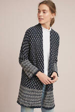 BNWT Zara Women JACQUARD COAT WITH A FRAYED HEM Blogger Favorite S/M