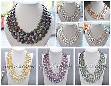 "D0175 3row 19"" 14mm Real Coin Freshwater Pearl Necklace"