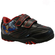**BOYS INFANT SUPERMAN SCHOOL FASHION CASUAL TRAINERS VELCRO KIDS SHOES SIZE NEW