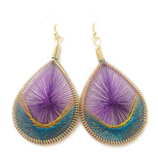 Hypoallergenic Earrings Color Gold Silk Peacock Tail Thread Earring