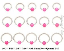 "2pc 16g~5/16""- 7/16"" Steel w/ Rose Quartz Stone Bead Captive Bead Ring Earrings"