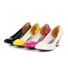 New Sweet Women's Fashion Wedge Shoes New Kitten Heels Cute Bow Leather Pumps