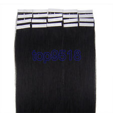 "New 16""18""20""22""24""PU Seamles Skin Tape-in Remy Human Hair Extensions Jet Black"