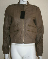 Zero Womens Beige Brown PU Leather Look Zip Bomber Jacket Size S M L New