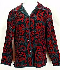COLDWATER CREEK Womens Red & Black Tapestry Reversible Jacket Blazer M 10 - 12