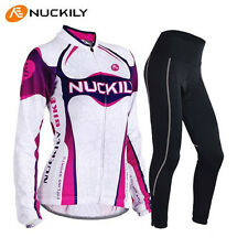 Womens Breathable Bike Bicycle Cycling Clothing Long Jersey and Pants Set wear
