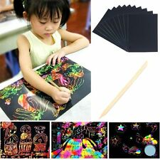 10 Sheet 16K Scratch Art Paper Painting Paper with Free Drawing Stick For Kids