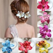 2pcs Bridal Wedding Party Orchid Flower Hair Clip Barrette Women Girl Hair Decor