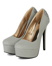 Qupid Ravish-66 New Women Nubuck Round Toe Platform Woven Stiletto Heel Pump