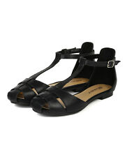 Breckelles Polina-04 New Women Leatherette Strappy Gladiator T-Strap Flat Sandal