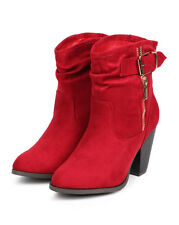 New Women Liliana Roselyn-1 Suede Almond Toe Strap Slouch Ankle Riding Boot Size