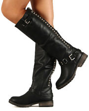 Breckelles Trooper-14 New Women PU Studded Buckle Riding Knee High Boot