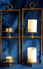 "Metal Sconce with Two Candle Holders - With or Without Glass Shades 14.25"" Tall"