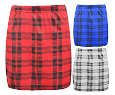 Women's Ladies Bodycon Short Stretchy Tartan Mini Jersey Pencil Skirt Size 8-14