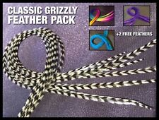 Feather Hair Extensions Natural Grizzly Feathers SUPER Long Beads Tool Kit Pack